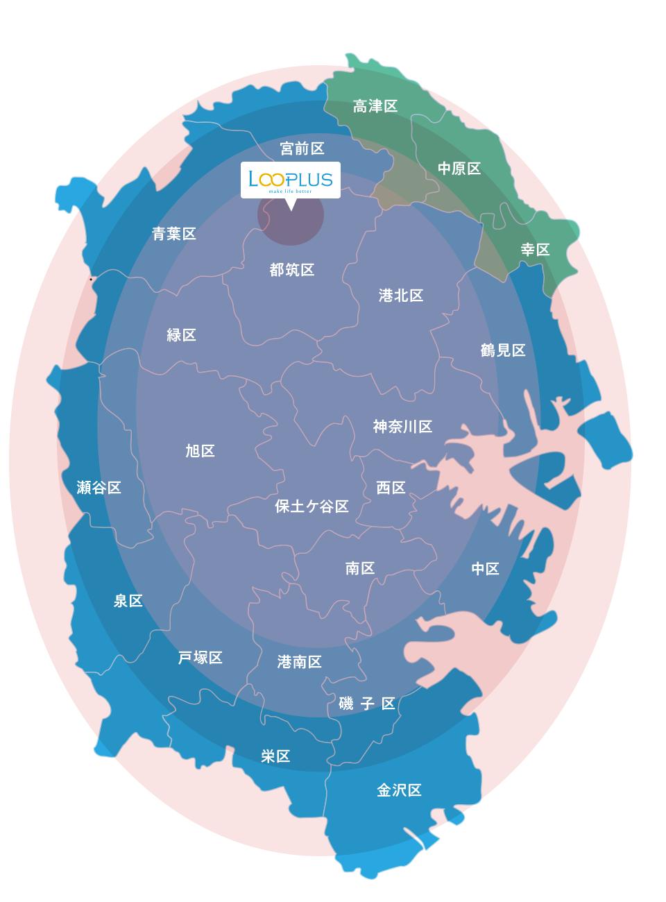 横浜市の地図